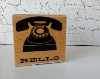 Wood Mounted Rubber Stamp Retro Phone Hello 2 inch