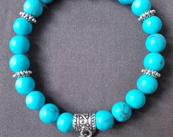 """Turquoise bracelet """"Optimistic"""" Pearl """"Buddha"""" and silver metal Ohm charm"""