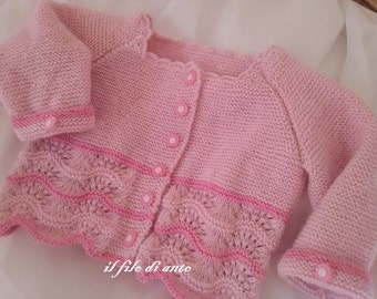 Jacket/cardigan/sweater girl in pink wool