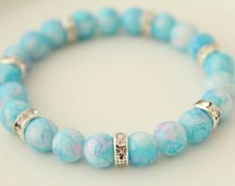 Glass Jewelry - Gifts under 5 Dollar - Blue Bracelet - Glass Bracelet - Glass Bead Bracelet - Something Blue - Boho Jewelry