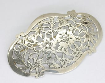 Vintage silver sash pin with flowers/scarf brooch/Dutch klederdracht brooch/continental silver/flower brooch/flower jewellery/sash brooch/