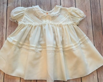 Vintage Baby Cotton/Lace Pleating Dress, size 18 months