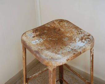 Metal Stool, Industrial Stool, Factory Stool,Lyons factory stool, Industrial Decor, Steampunk Stool, rusty stool