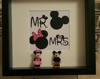 Disney Lego 3D Frame Mickey Minnie Mouse Donald Daisy Duck double figure present gift Mr Mrs wedding bride Groom