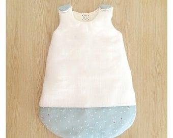 Sleeping bag blue celadon and white