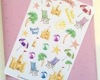 Beach Day Stickers | Planner Stickers, Journal Stickers, Scrapbook, Bullet Journal