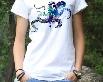 Octopus Tee - Cool Octopus T-shirt - Fashion T-Shirt - White shirt - Printed shirt - Women's T-shirt