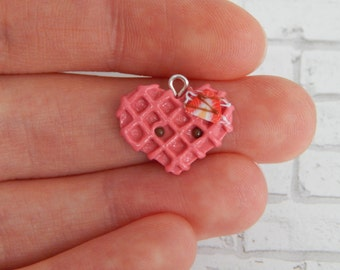Pink Heart Waffle- Valentine's Day, Polymer Clay Charm, Polymer Clay Jewelry, Charm, Cute, Kawaii