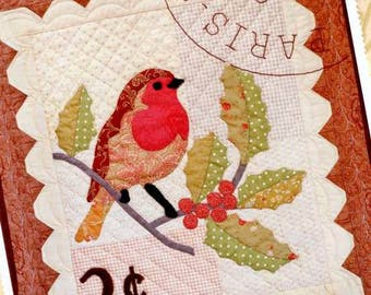 Winter Robin pattern from Fig Tree and Co quilt designs, mini quilt,