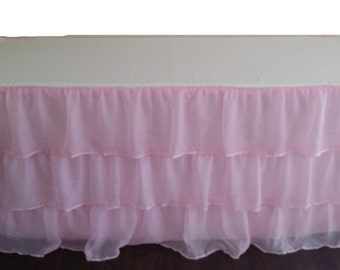 Pink Sheer Ruffled Tablecloth