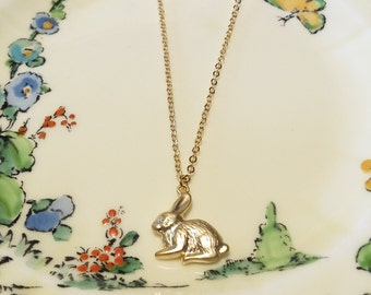 Gold plated rabbit charm necklace bunny jewellery