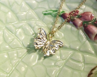 Gold plated butterfly pendant