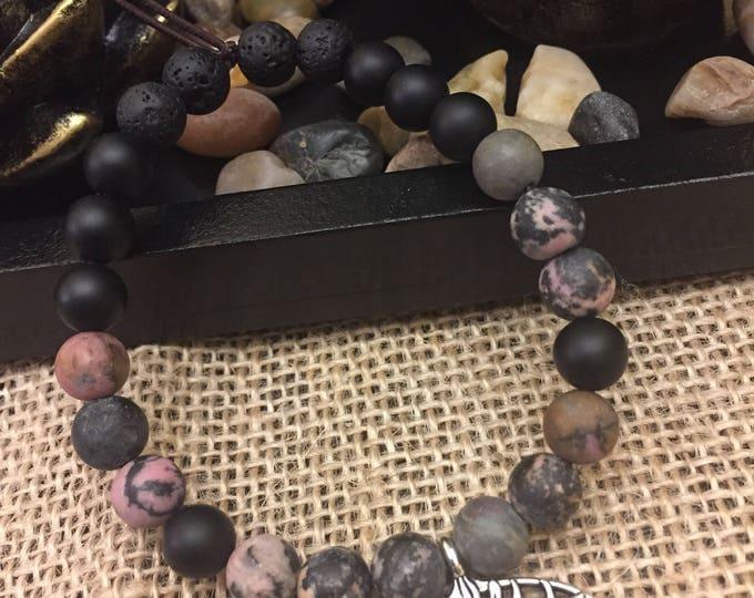Tree of life rhodonite and black obsidian bracelet