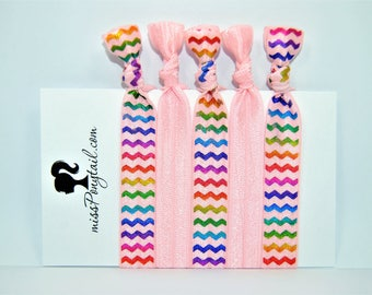 Hair Ties, Rainbow, Pink, Chevrons, Zig-Zag, Elastic Hair Ties, Handmade, Elastic Ribbon, Ponytail Holder, Knotted Hair Ties, Girl Gift, FOE