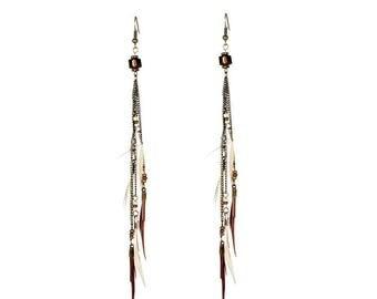 Long Bead & Feather Drop Earrings