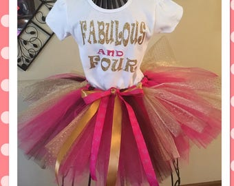 Fabulous and four tutu outfit with matching family shirts to match!!!