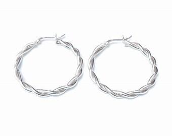 Twisted Hoop Earrings in Plain Sterling Silver