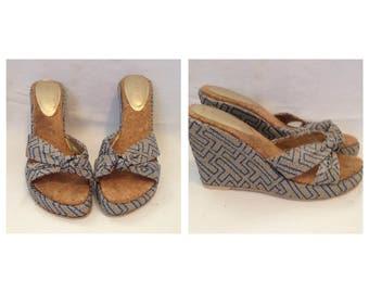 Vintage Celine Blue Wedge Sandals