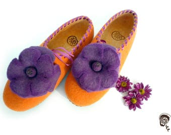 Felt Slipper Woman Pantoffel Vegetarian Shoe Flower Eco Clog Pantoufle Flat Valentines Homy New Year Gift  Wool Anniversary Girlfriend Wife