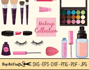Makeup Collection SVG files / Lipstick clip art / Eyelash clipart / eps Eyeshadow / SVG Eyeliner / dxf / Pretty Clipart / Makeup Brushes