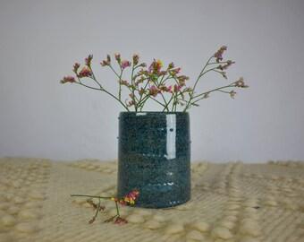 Blue speckled vase stoneware