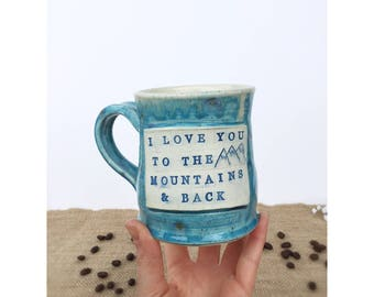 Mountain mug, blue mug, coffee mug, handmade mug, ceramics and pottery, plaque mug, wheelthrown mug, coffee cup,