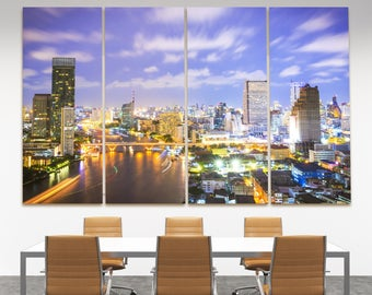 Aerial view Bangkok skyline multipanel canvas print, Bangkok night lights photo print, bangkok skyline wall art print