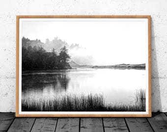 Black and White Landscape Print, Minimalist Landscape, Landscape Art, Forest Fog Digital Poster, Black and White Decor, Black White Poster