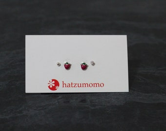 Strawberry Stud Earring Set Sterling Silver 925