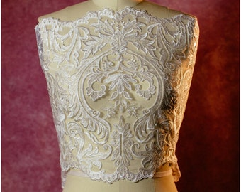 Guipure Lace trim, Bridal Lace trim, Bridal Bolero Lace, Soft Lace Trim, Off-white crochet Lace, Berta Bridal Lace,