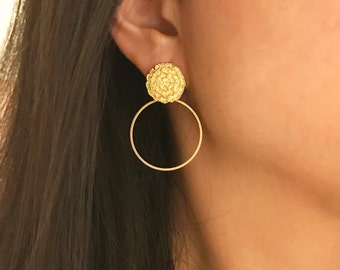 Gold marigold earrings with matte gold hoop