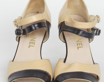 So Cute! Chanel Strappy Tan and Black Leather Spectator Peep-toes