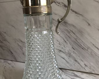 Vintage EP Zinc Glass Silver Plated Wine Decanter Made In Italy Vintage Bar Ware Wine Clare