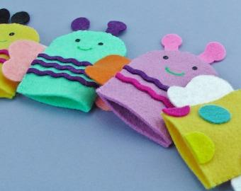 Felt Bug Finger Puppet, Story Time, Preschool teacher, Librarian gift, Gift for teacher, Insect Puppet, Special Ed Toy, Handmade Felt Puppet