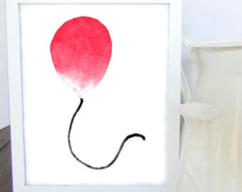 Red Balloon Watercolor, Watercolor Print, Nursery Decor, Kids Room Decor, Shower Gift, Gift for Her, Gift for Him, Wall Art, Home Decor