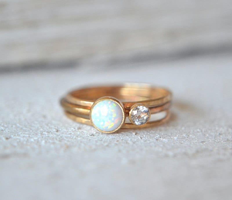 three gold opal rings white opal gold ring stacking rings