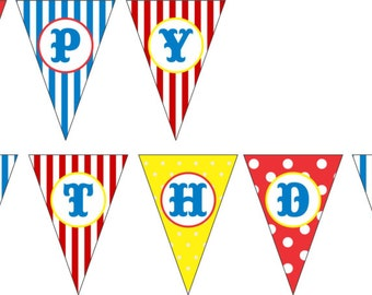 Гирлянда флажков Цирк Happy Birthday/ Circus Happy Birthday Letter Garland