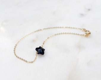 Star Bracelet / Black Star Bracelet / Gold and Black Dainty Bracelet / Star Beaded Bracelet