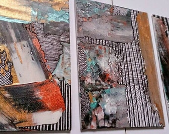 SALE Abstract Paintings Set of 3 Original Acrylic Gold Metallic Colorful Freehand Geometric Canvas Board 5'' x 7'' Small Wall Art Gift Set