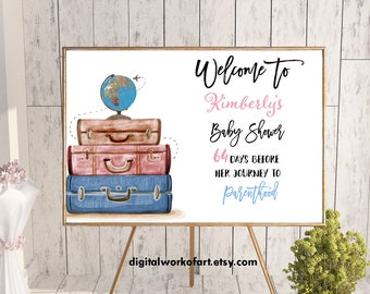 Welcome Sign, Welcome Baby Shower Sign, Baby Shower Decor, Baby Shower Sign, Travel from, Parenthood, Printable Baby Shower Sign