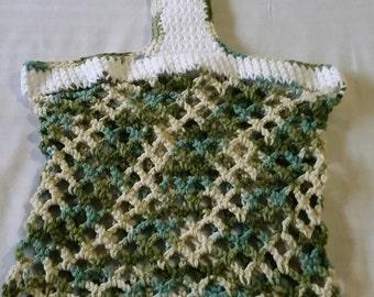 100% cotton Hand crocheted mesh market bag