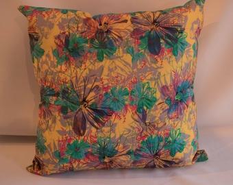 Jungle Violets Yellow Cushion