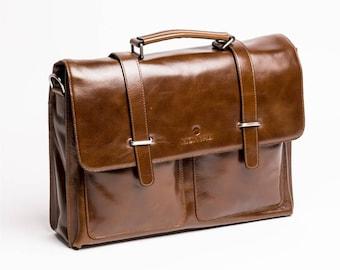 "MONVALI mens leather briefcase Millard brown notebook bag 14"" business bag 38 cm"