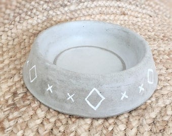 Medium concrete pet / dog bowl hand painted and sealed