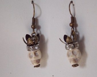 Loops d ears skull head rhinestones