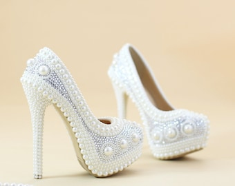 Pearl wedding shoes White pearl bridal shoes party shoes Unique wedding heels fashion custom heels platform wedding shoes