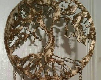 Golden Rusty Metal Tree of Life Wind Chime Copper Bells Indian Bells