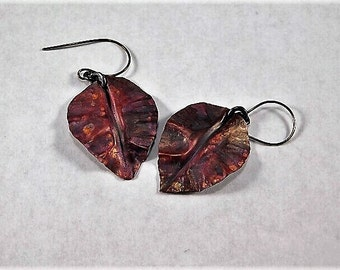 Fold Formed Copper Autumn Leave Dangles