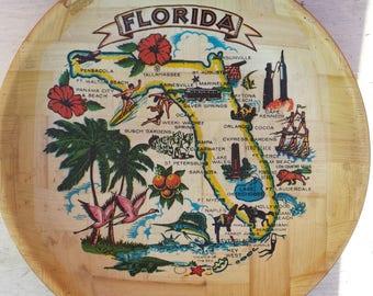Vintage Florida Map Souvenir Large Wooden Bowl, Decorative Florida Map Bowl, Large Lightweight Florida Serving Bowl, Retro 1970s Florida Map