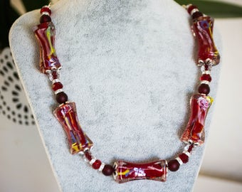 SALE! 50% OFF EVERYTHING! Chunky Red necklace - Big and Bold, Red Statement Necklace, Vibrant, Lampwork beads,